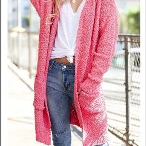 NWT - Coral colored popcorn cardigan